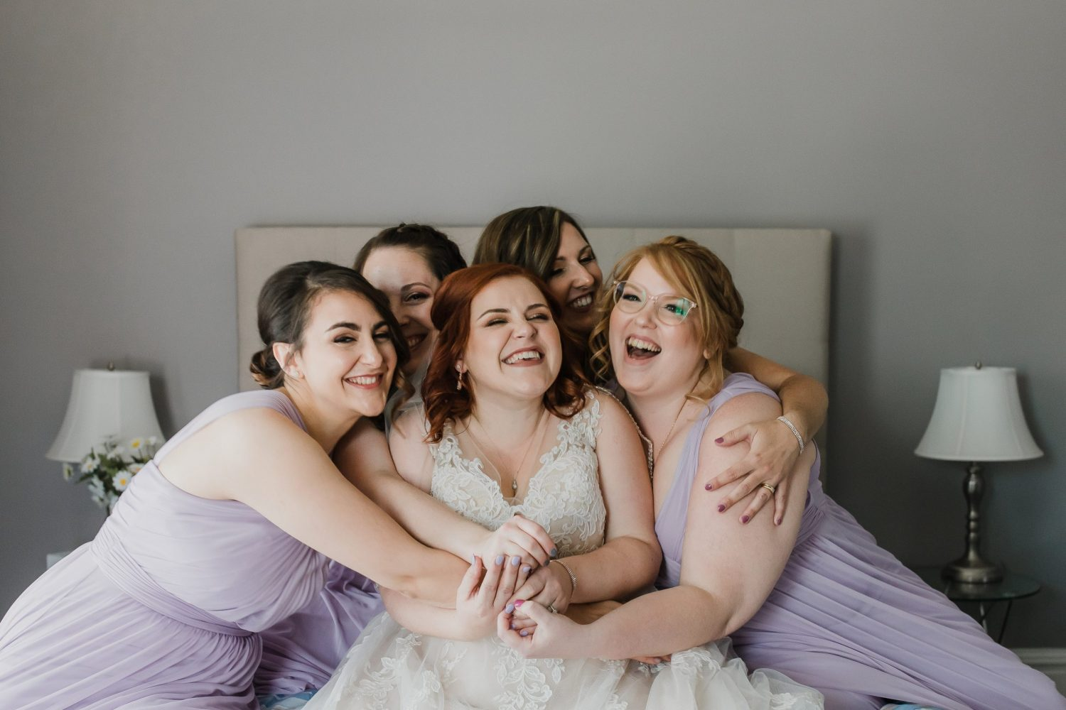 bride and bridesmaids, getting ready photos, peterborough wedding photographer