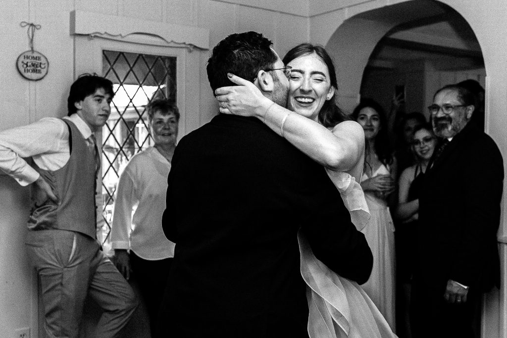 Wedding Couple doing their first dance in their living room at an intimate home wedding in Millbrook Ontario