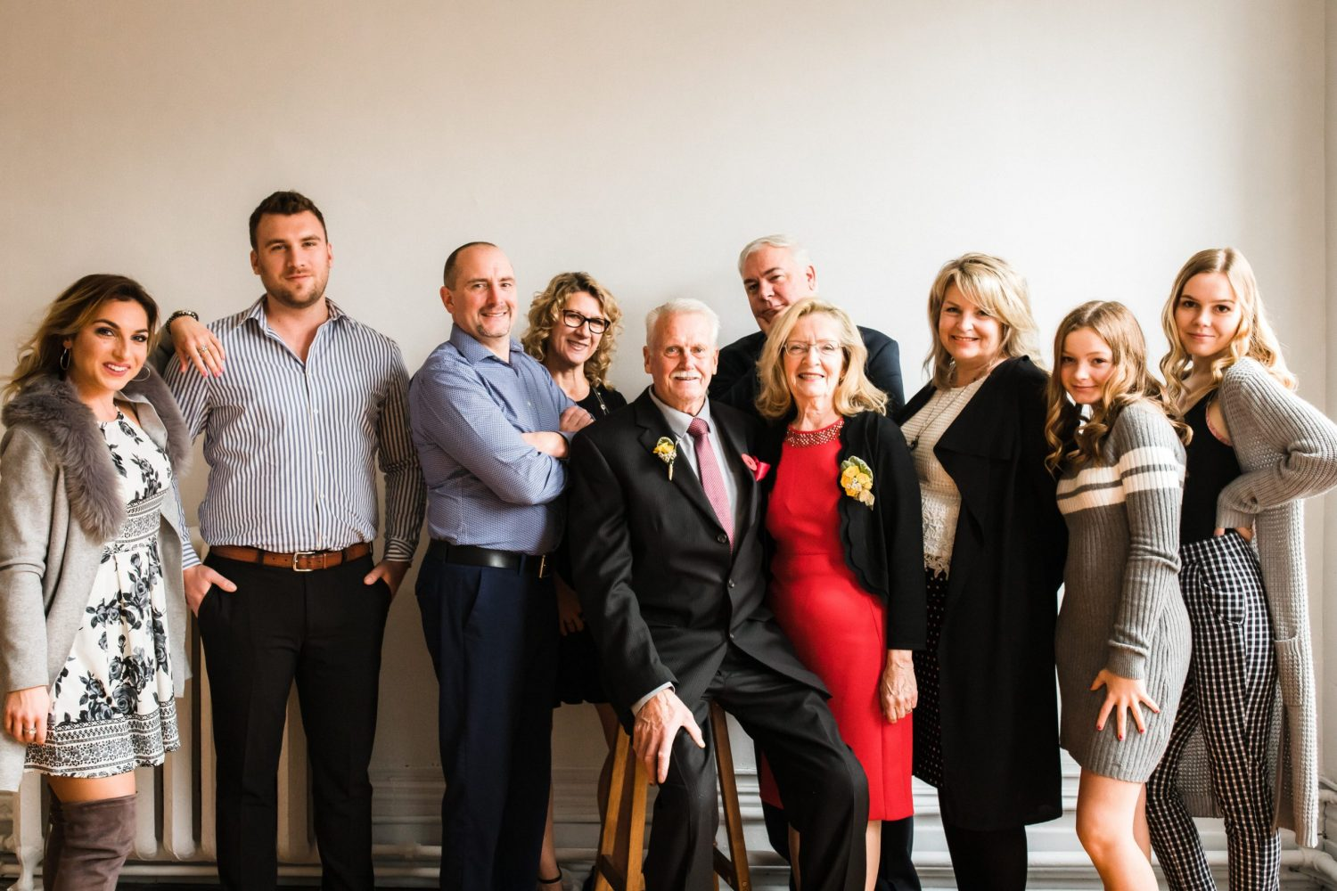 large family photo celebrating 50 years of marriage anniversary at photography studio in downtown peterborough