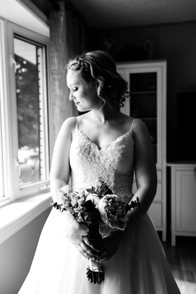 bride getting ready photos, black and white wedding photos, peterborough wedding photographer