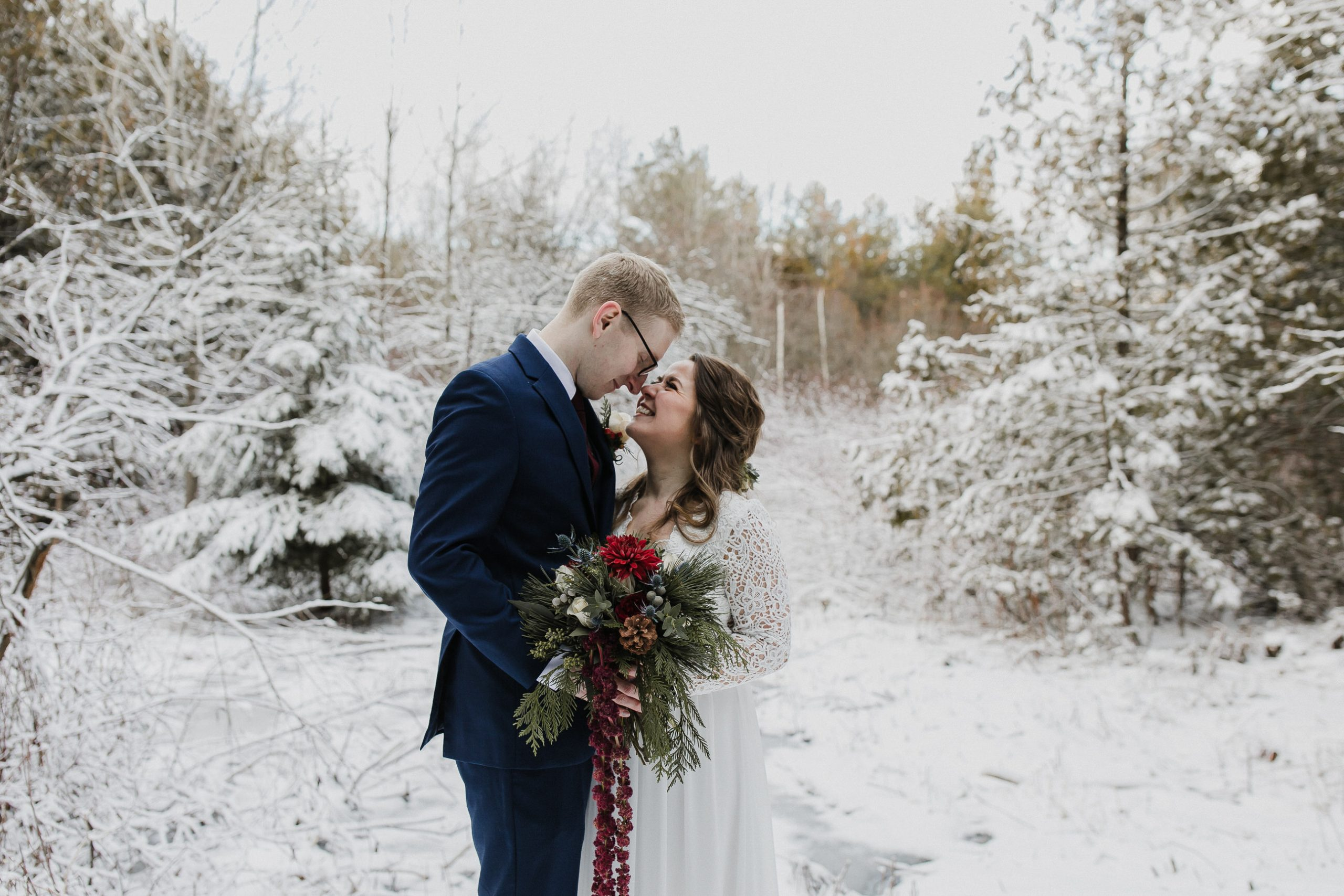 bride and groom at their winter micro wedding in port hope ontario